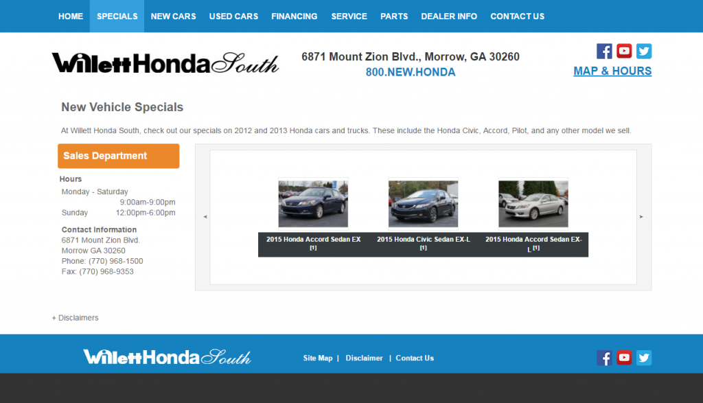 Willet Honda Specials Page