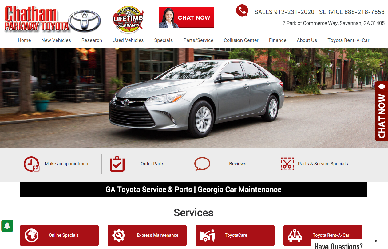 Chatham Parkway Toyota >> Chatham Parkway Toyota Services Page Dominion Dealer Solutions